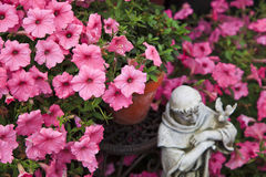Petunias and Statue Stock Image