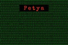 Petya и бинарный код безопасность концепции Petya и ransomware Стоковое фото RF