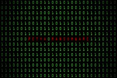 Petya Ransomware słowo z technologia cyfrowym zmrokiem lub czarny tło z binarnym kodem w jasnozielonym kolorze 1001 Obraz Royalty Free