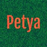 Petyaen och den binära koden det Petya och ransomwarebegreppet Secu Royaltyfri Foto