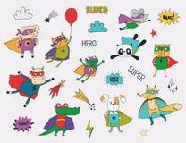 Peu animaux dans des costumes de super héros illustration stock