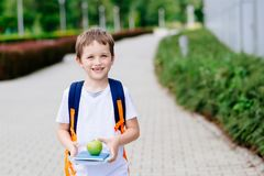 Peu 7 années de garçon avec les livres et la pomme Photographie stock