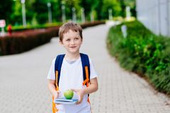 Peu 7 années de garçon avec les livres et la pomme Photographie stock libre de droits