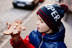 Peu 7 années de garçon mangeant le bonhomme en pain d'épice Image libre de droits