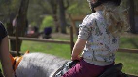 Peu cheval de poney de licorne de tour d'enfant de fille Partie de divertissement d'enfants cardan banque de vidéos