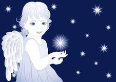 Peu d'ange bleu illustration de vecteur