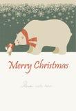 Peu d'ange et ours blanc célébrant Noël illustration de vecteur