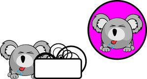 Peu d'autocollant de copyspace d'expression de bande dessinée de koala de boule Photo stock