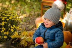 Peu d'enfant avec la pomme photos libres de droits