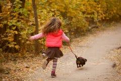 Peu d'enfant marchant avec le chiot Images stock