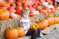 Peu d'enfant s'asseyant avec un bon nombre de potirons sur la ferme de correction Photos libres de droits