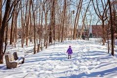 Peu d'enfant seul marchant en parc d'hiver Images stock