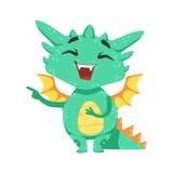 Peu d'illustration d'Emoji de caractère de Dragon Laughing And Mocking Cartoon de bébé de style d'Anime Image stock