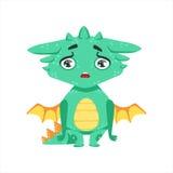 Peu d'illustration d'Emoji de caractère de Dragon Upset And Disappointed Cartoon de bébé de style d'Anime illustration stock