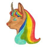 Peu d'Unicor avec la coupe de cheveux d'arc-en-ciel Images libres de droits