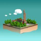 Peu d'usine avec des cheminées entourées par des arbres sur les nuages stylisés pelucheux de petite île a isolé le fond bleu Photographie stock libre de droits