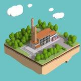 Peu d'usine avec des cheminées entourées par des arbres sur les nuages stylisés pelucheux de petite île a isolé le fond bleu Photo stock