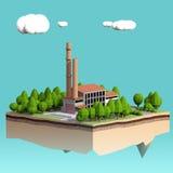 Peu d'usine avec des cheminées entourées par des arbres sur les nuages stylisés pelucheux de petite île a isolé le fond bleu Photos libres de droits