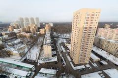 Peu de bâtiments résidentiels ayant beaucoup d'étages au complexe de logements d'île d'élans Photographie stock