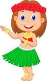 Peu de bande dessinée de fille de danse polynésienne Photo stock