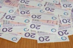 Peu de 20 billets de banque de PLN zloty 20 polonais Photos libres de droits