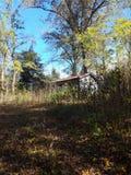 Peu de cabine dans les bois Photo stock