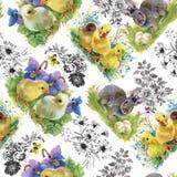 Peu de canetons, poulets et lièvres mignons pelucheux d'aquarelle avec le modèle sans couture d'oeufs sur le fond blanc dirigent  Photographie stock libre de droits