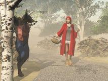 Peu de capot d'équitation rouge et le grand mauvais loup Photo stock