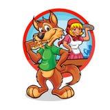 Peu de capuchon rouge et la grande mauvaise pizzeria de loup Image libre de droits