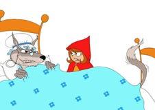 Peu de capuchon rouge interrogeant le loup féroce déguisé en tant que sa grand-mère Image libre de droits