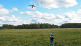 Peu de cerf-volant de vol d'enfant dans la campagne banque de vidéos