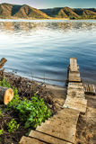 Peu de dock de fleuve photo stock