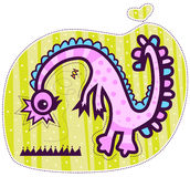 Peu de dragon et papillon roses Image stock