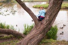 Peu de fille de gingembre se tenant sur l'arbre photo libre de droits