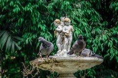 Peu de fontaine jumelle d'ange avec l'oiseau Photographie stock