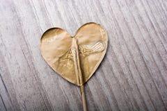 Peu de forme de coeur de couleur d'or à disposition Images libres de droits