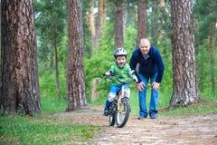 Peu de garçon d'enfant de 3 ans et son père dans la forêt d'automne avec a Photo libre de droits