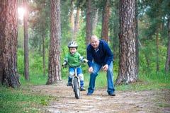 Peu de garçon d'enfant de 3 ans et son père dans la forêt d'automne avec a Photos stock