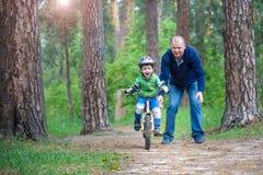 Peu de garçon d'enfant de 3 ans et son père dans la forêt d'automne avec a Image libre de droits