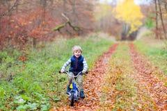 Peu de garçon d'enfant avec la bicyclette dans la forêt d'automne Images libres de droits
