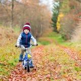 Peu de garçon d'enfant avec la bicyclette dans la forêt d'automne Photographie stock