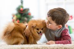 Peu de garçon d'enfant avec le chien se trouvant sur le plancher à l'arbre de Noël Photos stock