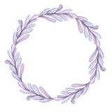 Peu de guirlande avec la lumière Violet Leaves d'aquarelle Images stock