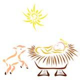 Peu de Jésus regardant les étoiles brillantes et l'agneau gai illustration stock