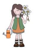 Peu de jardinier de fille de bande dessinée tenant des fleurs illustration stock