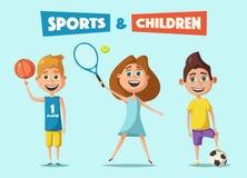 Peu de joueurs de basket-ball, de tennis et de football Illustration de vecteur de dessin animé illustration libre de droits