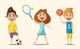 Peu de joueurs de basket-ball, de tennis et de football Illustration de vecteur de dessin animé illustration de vecteur