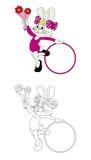 Peu de lapin avec livre de coloriage de cercle Photographie stock