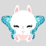 Peu de lapin blanc mignon avec le papillon bleu s'envole Caractère romantique Carte de voeux Bel autocollant Photographie stock libre de droits