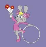 Peu de lapin drôle avec un cercle Photos libres de droits